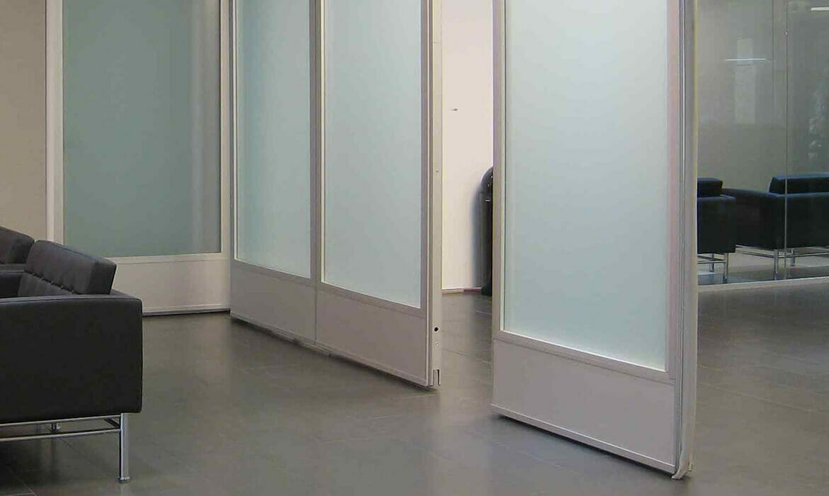 Frosted window film on office glass partitioning