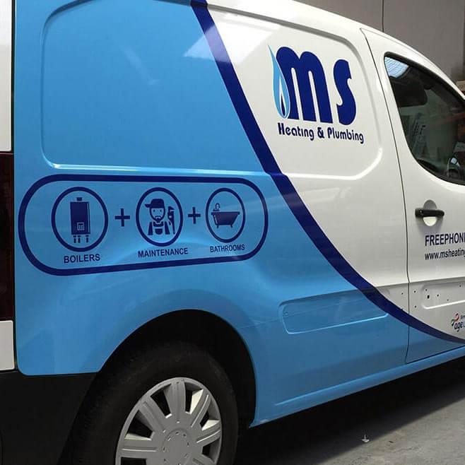 MS Heating and Plumbing Part Van Wrap