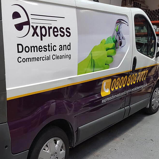 van with express cleaning part wrap and van signwriting