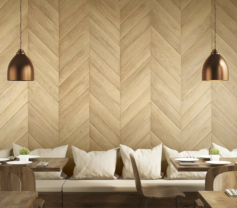 Cover Styl Light Parquet Vinyl Wrap Installed to a Restaurant Wall