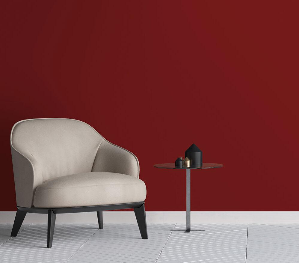 Cover Styl Orangey-Red Velvet Grain Vinyl Wrap Installed to Living Room