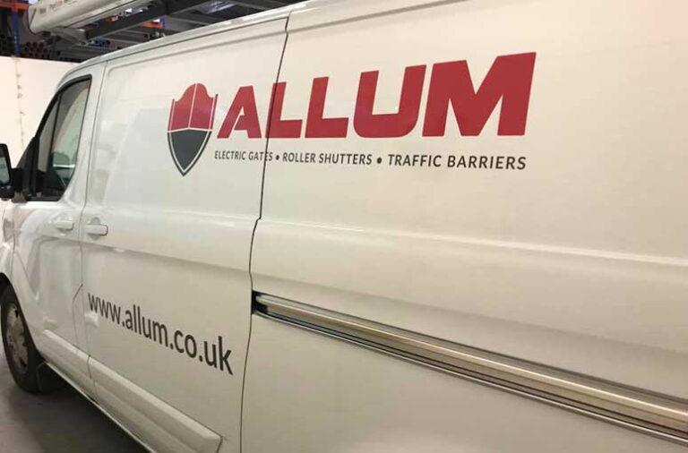 alum van with traditional cut graphic van signwriting