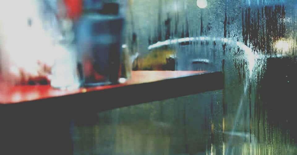 Condensation on a restaurant window