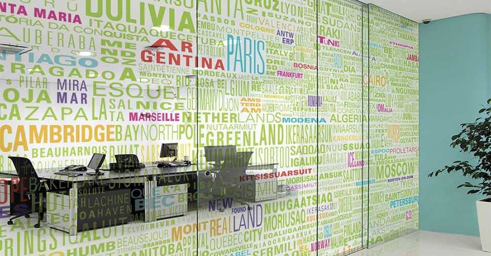 Bespoke printed decoratiove privacy window film installed on meeting room glazing