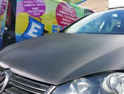 carbon fiber car wrap on vw golf