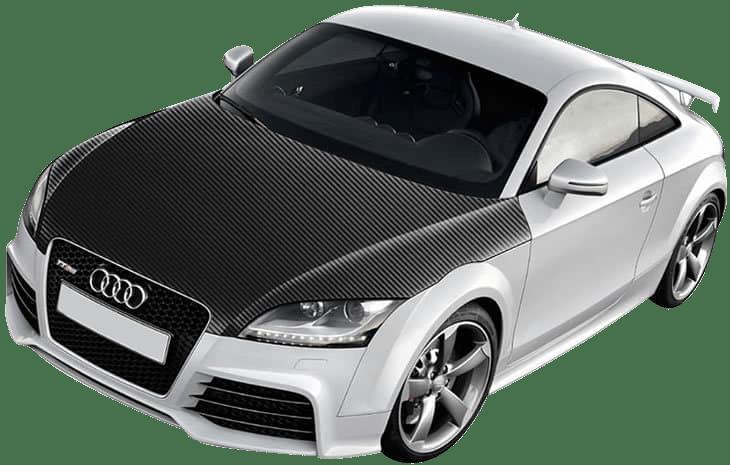 carbon fiber wrap on an Audi TT bonnet
