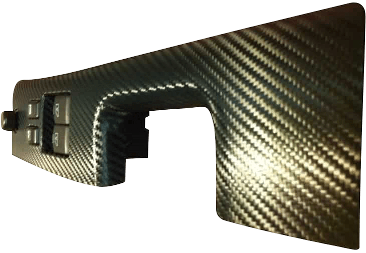 carbon fiber wrap on a cars interior trim