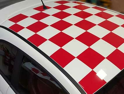 checkered roof car wrap