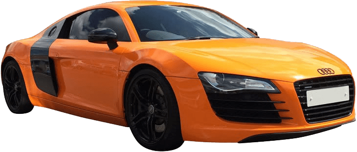 Audi R8 with and orange and black colour change car wrap installed