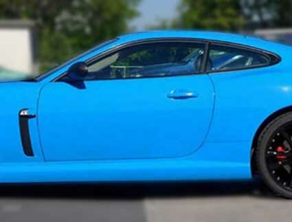 gloss black dechrome on blue jaguar