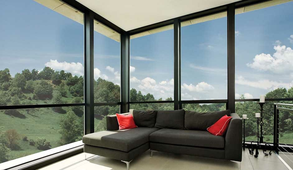 Large glazed living room with window film on