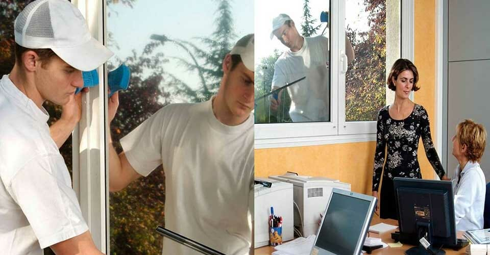 man cleaning a window showing the effects of one way privacy window film