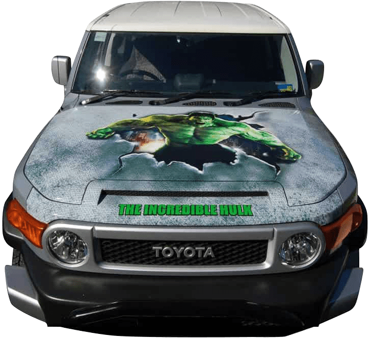 Hulk printed wrap on a Toyota bonnet