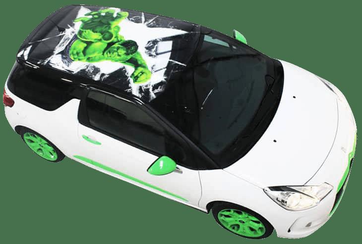 Hulk digitally printed roof wrap