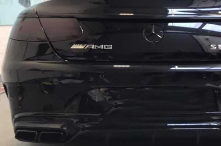 Close up of a dark tail light tint on Mercedes AMG