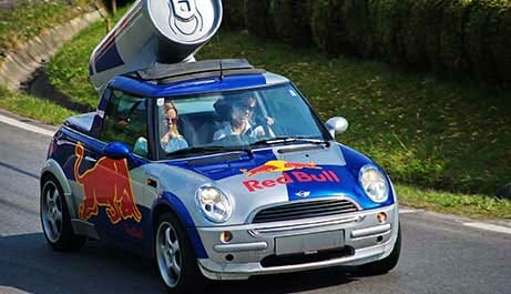 red bull car with digitally printed vehicle wrap installed