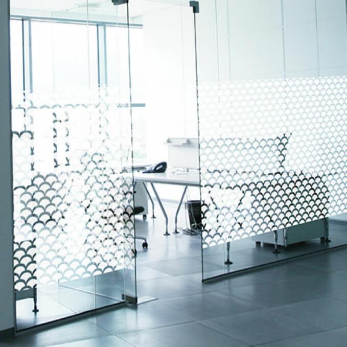 Atoma shell patterned window filom on meeting room window