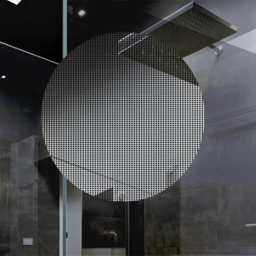Matrix decorative window film on shower glass