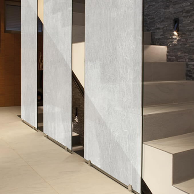 Classic decorative window film on stair partitions