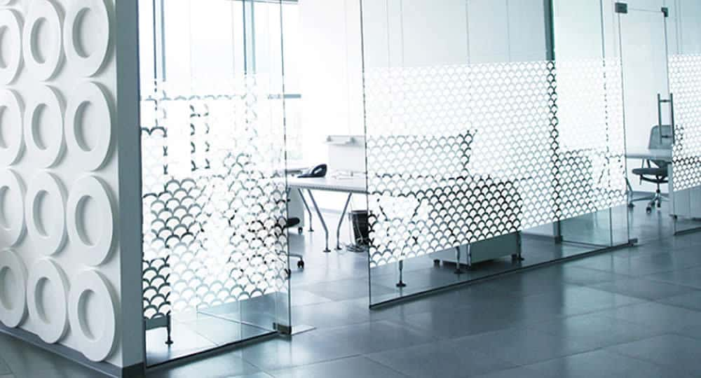 Atoma shell frosted patterned window film installed on meeting room glass partition