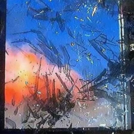 Explosion shattering a window which is in need of blast protection window film