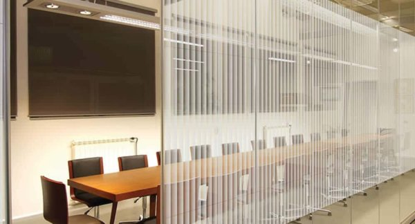boreal striped decorative window film installed to glass partition