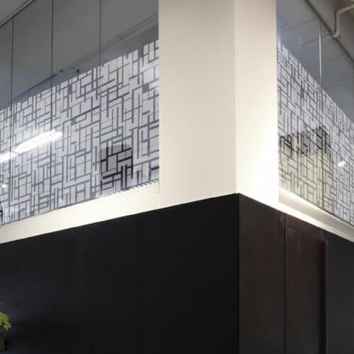 Decorum patterned window film on high glazing