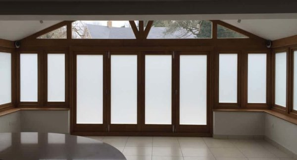 white frosted window film installed on conservatory windows