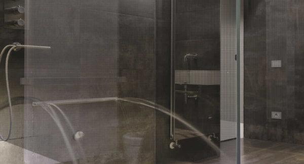Matrix Black Decorative Window Film installed on shower partition