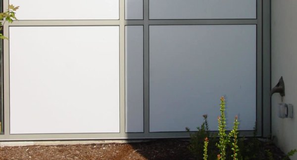 whiteout glass film installed on some large windows