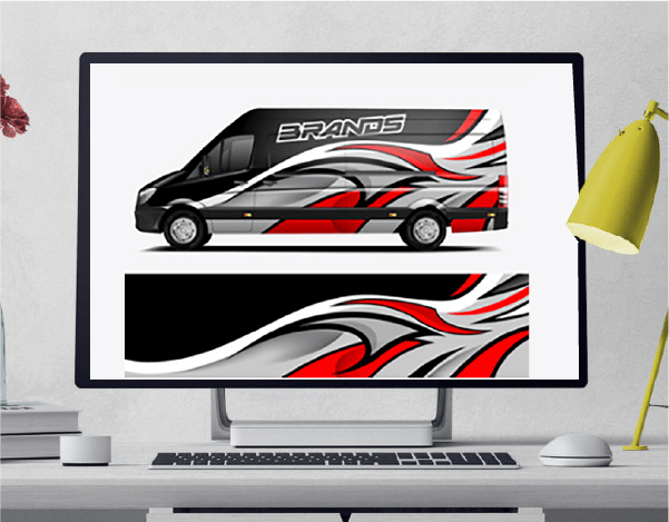 Computer monitor with an attractive stock van design image on the screen