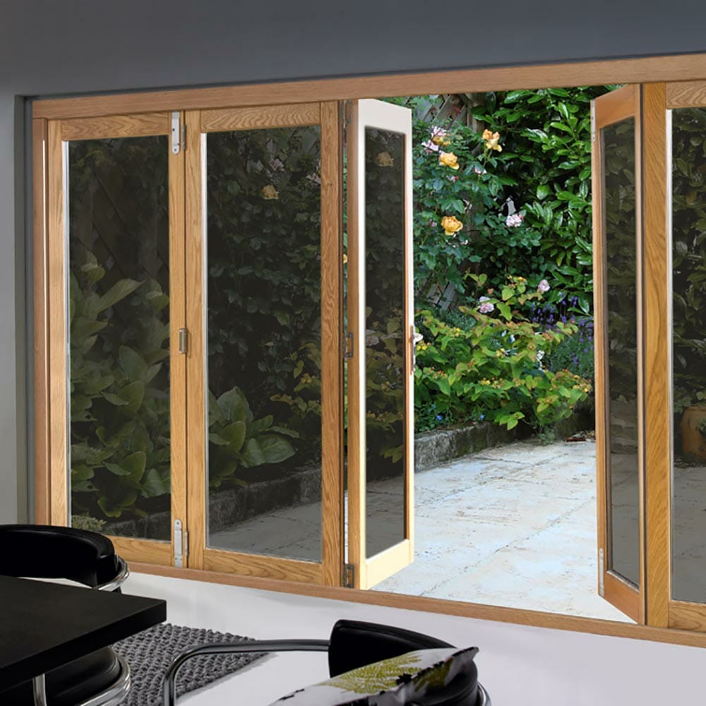 Gold reflective window film installed to patio doors to show view looking out